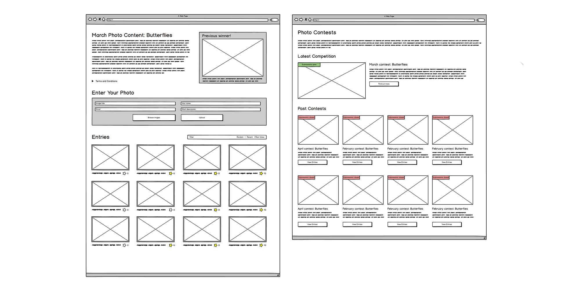 Countryfile photo contest wireframes